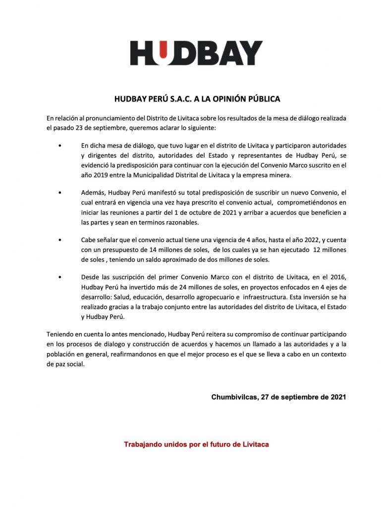 Comunicado Hudbay Perú 270921
